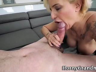 Tattooed granny gets pounded..