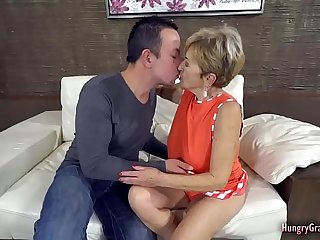 Busty blonde granny fucked..
