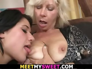 Hot threesome sex old couple..