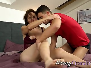 Horny granny sucking and..