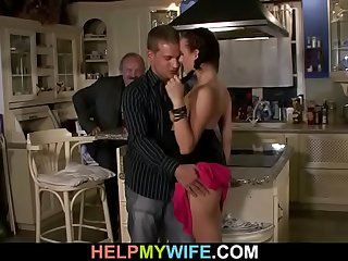 Old man watches his wife..