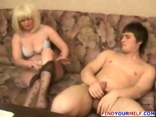 Mature Russian mom helping..