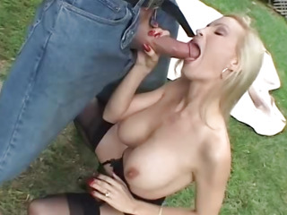 Blonde cougar fucks a big cock
