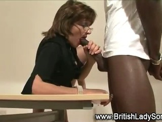 Horny brit Lady Sonia sucks..