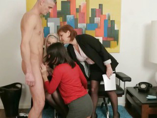 Femdom group give guy a..
