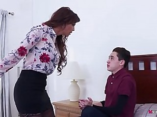 Busty Mom forced her stepson..