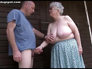 Busty grey grandma sucks and..